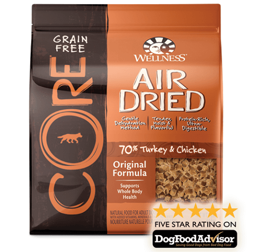 a pack of wellness core large breed puppy food