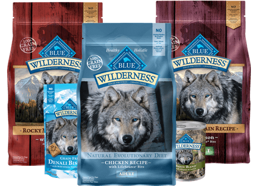 three packages of Blue Wilderness dog food