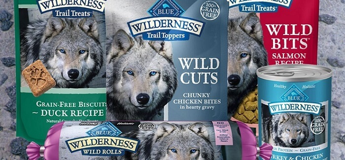 several Blue Wilderness dog food packages