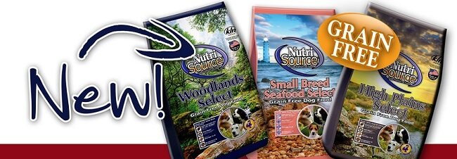 several bags of the new Nutrisource dog food