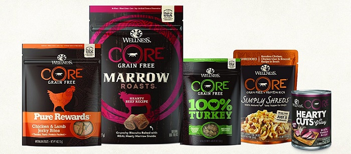 several packages of Wellness Core dog food