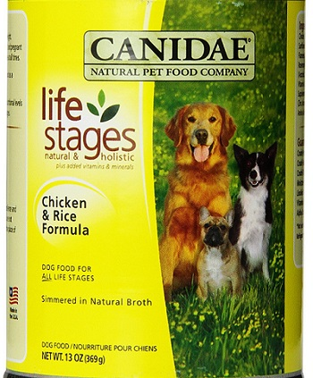 a yellow can of Canidae canned dog food