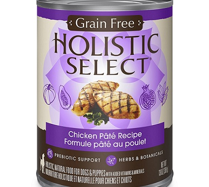 a black and purple can of Holistic Select natural wet dog food