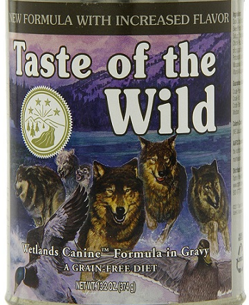 a purple can of Taste of the Wild wet dog food