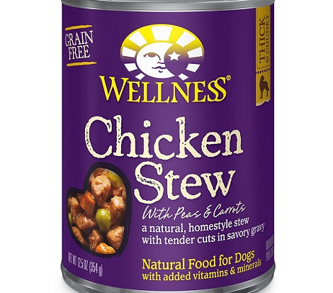 a purple can of Wellness Thick and Chunky wet dog food