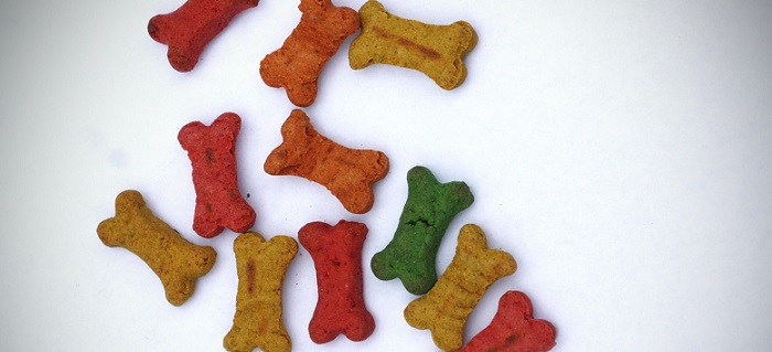 several dog biscuits colored differently