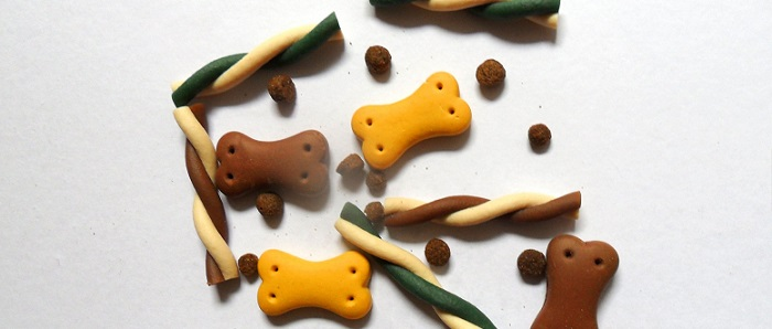 several dog biscuits and treats on a white background