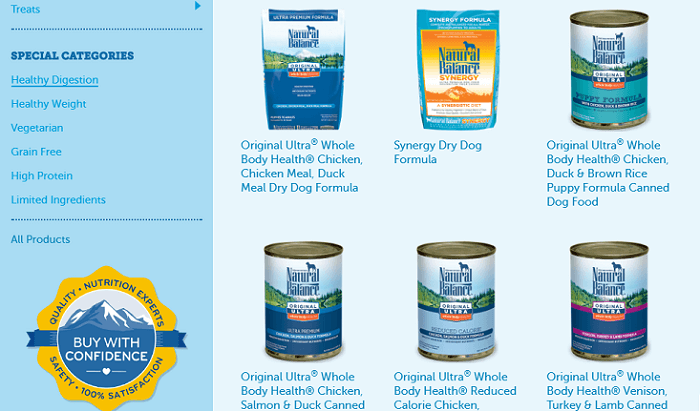 several products from Natural Balance dog food brand