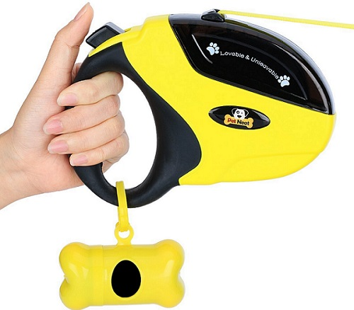a black and yellow Pet Neat Retractable Dog Leash with Break and Lock Button