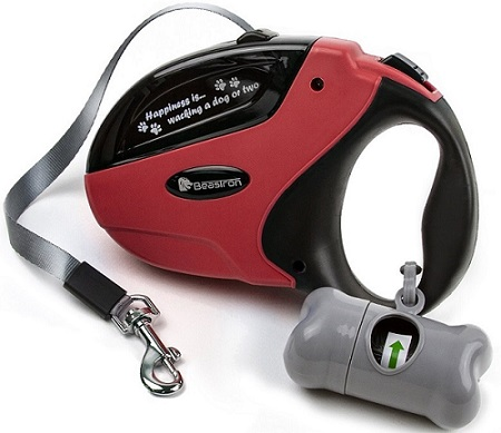 a black and red Beastron Retractable Tangle-Free Dispenser leash