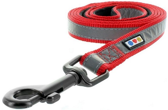 a red and gray Pawtitas Puppy Pet 6 - feet Reflective Padded Dog Leash