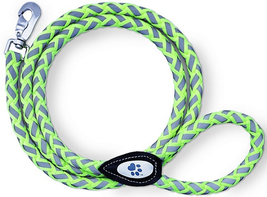 a blue and green SafetyPup XD Reflective Climbing Rope Leash