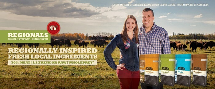acana dog food banner with a couple smiling in nature with cattle behind